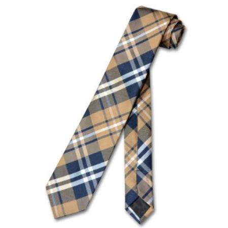 SKU#ED7806 Narrow NeckTie Skinny Navy Brown White PLAID Men