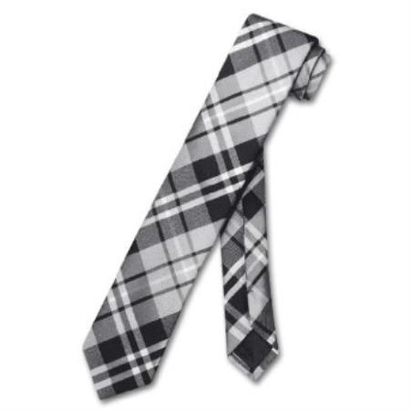"SKU#KN8956 Skinny Black Gray White Glen Plaid Mens 2.5"" Neck Tie $39"