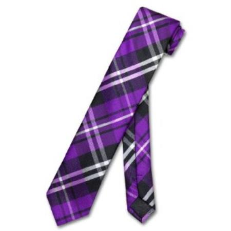 "SKU#KN7890 Skinny Purple Black White PLAID Mens 2.5"" Tie $39"