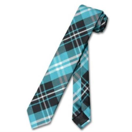 "SKU#CR7899 Skinny Black Turquoise White PLAID Mens 2.5"" Tie $39"