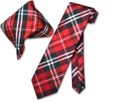MensUSA.com Black Red White PLAID NeckTie and Handkerchief Matching Tie Set(Exchange only policy) at Sears.com