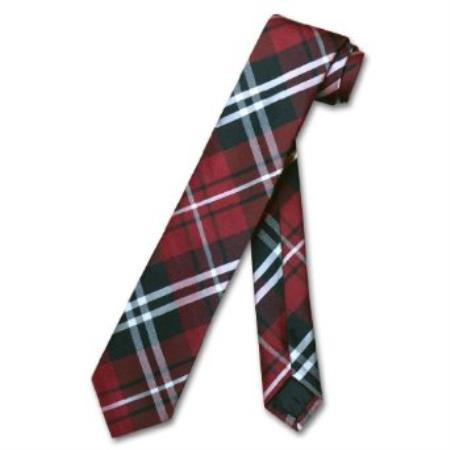 SKU#KG6798 Narrow NeckTie Skinny Black Burgundy White PLAID Men