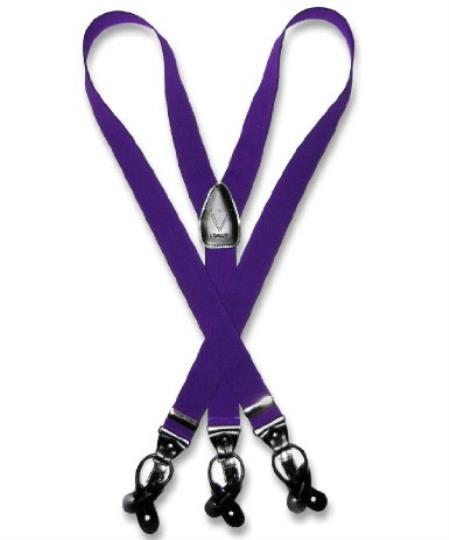 SKU#D7QN Mens Purple Suspenders Y Shape Back Elastic Button & Clip Convertible