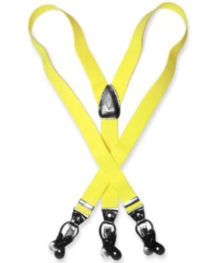 SKU#K6RP Mens Yellow Suspenders Y Shape Back Elastic Button & Clip Convertible