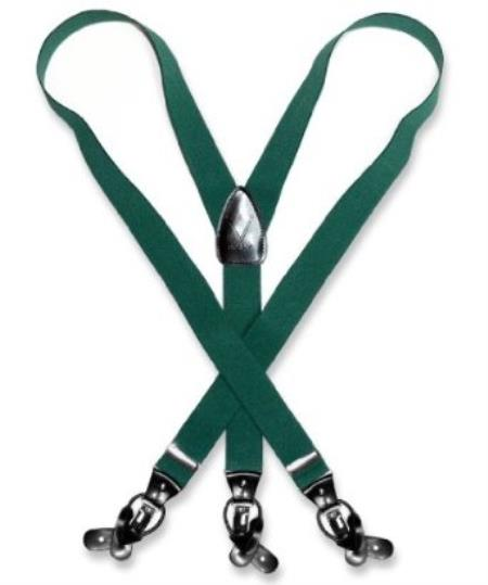 SKU#M3ER Mens Forest Hunter Green Suspenders Y Shape Back Elastic Button & Clips