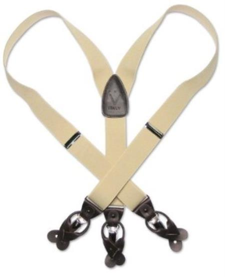 SKU#F4EK Solid Cream Dark Brown Leather Suspenders Elastic Y-Back Button & Clip $49