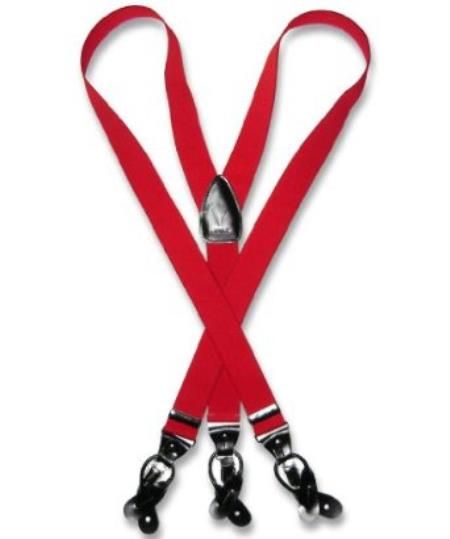 SKU#D8TG Mens Red Suspenders Y Shape Back Elastic Button & Clip Convertible