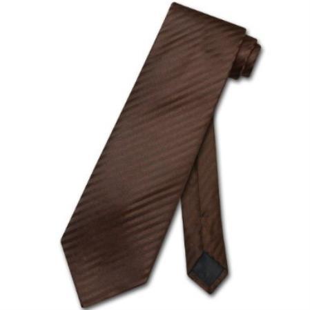 SKU#GL7934 Chocolate Brown Striped Stripes Design Mens Neck Tie
