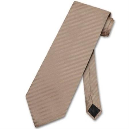 SKU#KP8500 Mocha Light Brown Striped Vertical Stripes Mens Neck Tie