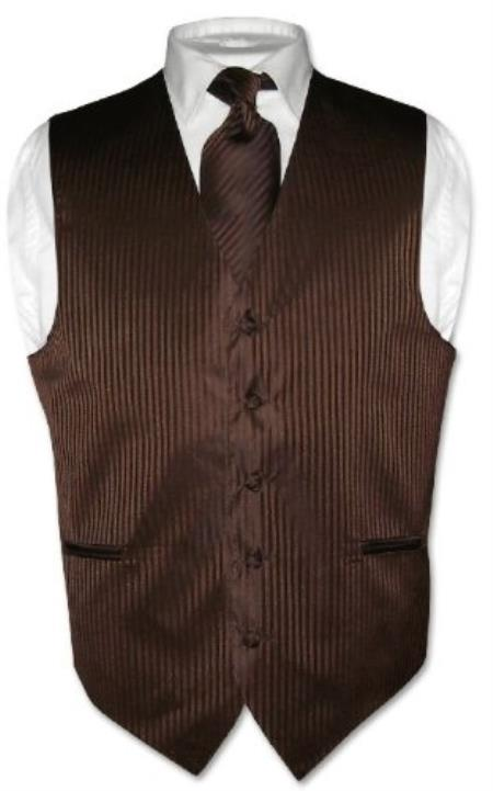 SKU#KX5793 Men's Dress Vest & NeckTie Chocolate Brown Striped Vertical Stripes Design Set