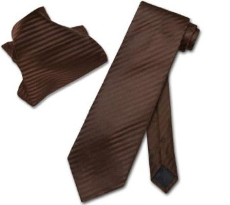 SKU#KC7945 Chocolate Brown Striped NeckTie & Handkerchief Matching Neck Tie