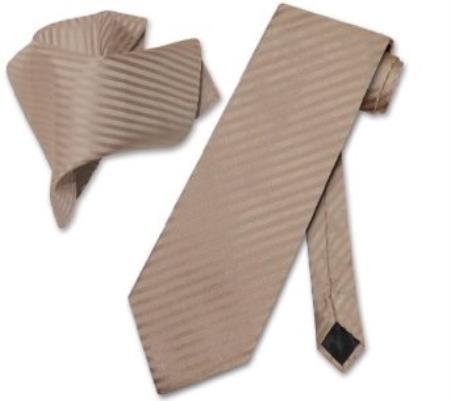 SKU#CN7894 Mocha Light Brown Striped NeckTie & Handkerchief Matching Tie