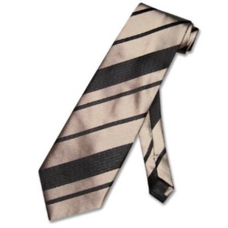 SKU#BS7923 Taupe Light Brown Woven Striped Mens Design Neck Tie $39