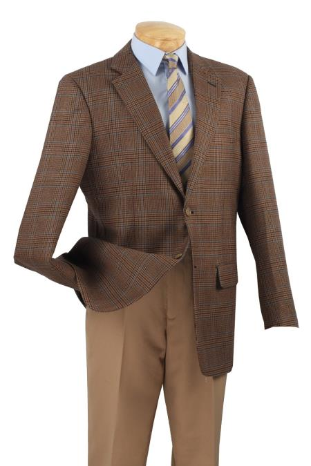 MensUSA.com Mens 2 Button Single Breasted Wool Sport Coat Brown Plaid(Exchange only policy) at Sears.com
