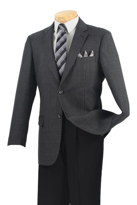 MensUSA.com Mens Wool Sport Coat Dark Charcoal Plaid(Exchange only policy) at Sears.com