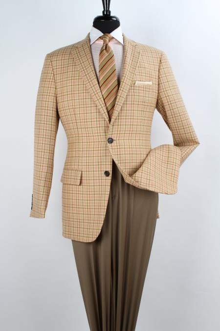 SKU#NS6734 Mens 100% Wool Sport Coat - Side Vents Yellow $125