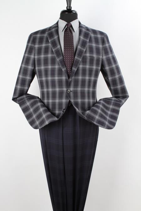 SKU#RV8399 Mens 100% Wool Sport Coat - Side Vents Navy, Burgundy ~ Maroon ~ Wine Color & White $125