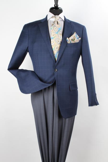 MensUSA.com Mens 100 Wool Sport Coat Side Vents Blue Grid(Exchange only policy) at Sears.com
