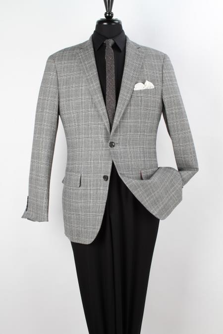 MensUSA.com Mens 100 Wool Sport Coat Side Vents Fancy Grey Grid(Exchange only policy) at Sears.com