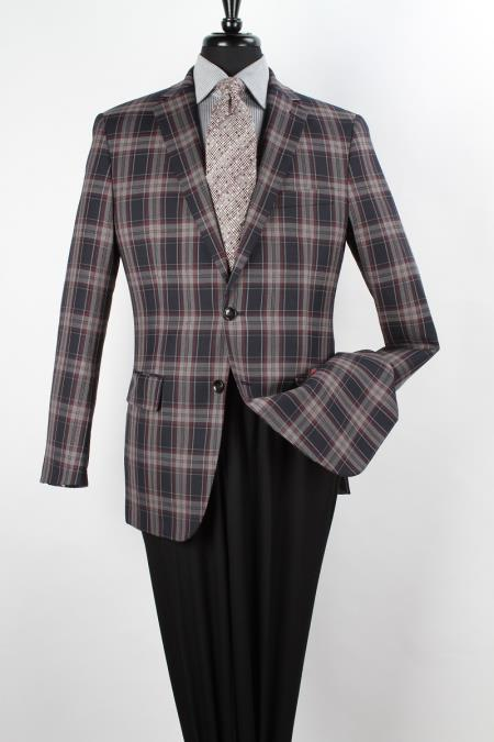 MensUSA.com Mens 100 Wool Sport Coat Side Vents Navy Red and White Large Checker(Exchange only policy) at Sears.com