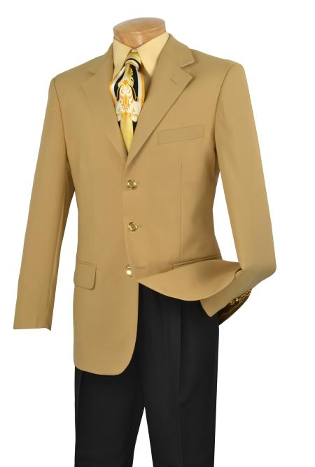 SKU#VR6822 Mens Single Breasted Poplin Blazer - 3 Button Jacket Gold