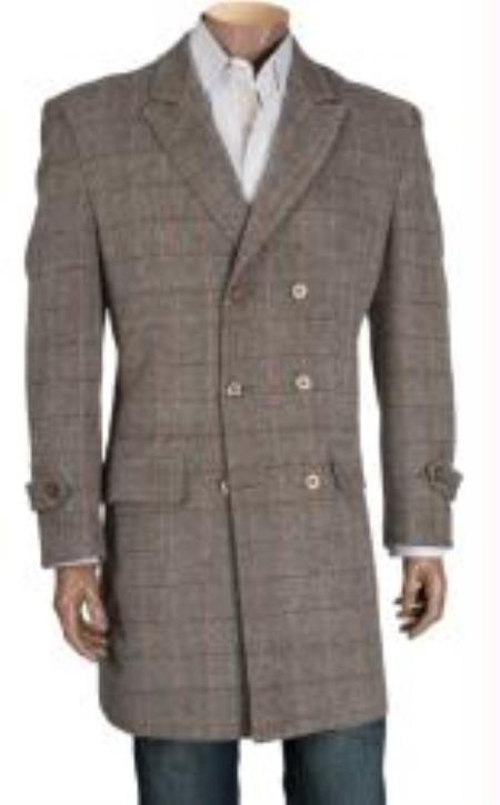 SKU#TZ4923 Mens Double Breasted Wool Overcoat Light Brown $189