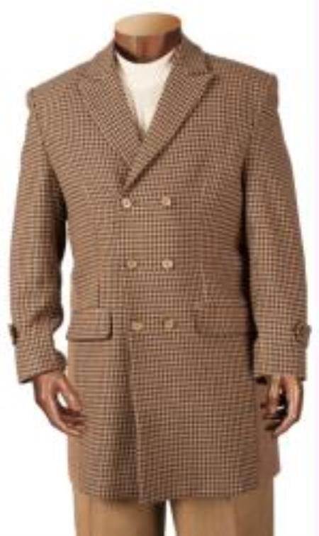 MensUSA Mens Wool Double Breasted Brown Houndstooth Overcoat at Sears.com