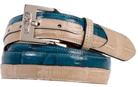 "SKU#HF6830 Mauri ""102/35"" Champagne / Caribbean Blue Genuine Alligator / Crocodile Belt $339"