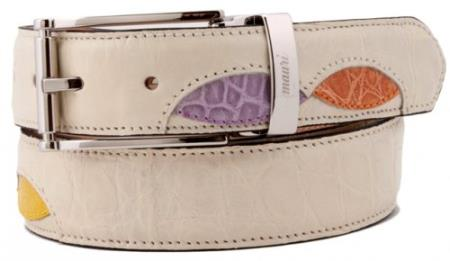 "SKU#CR4620 Mauri ""110/35"" Cream / Mauve / Neon / Sherbert Genuine Alligator Belt $339"