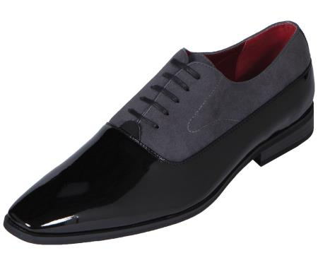 SKU#CR7300 Mens Grey Tuxedo Shoe Contemporary Patent Smooth Grey $99