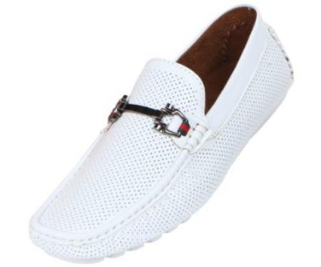 SKU#ER58 Mens Driving Moccasin Loafer in Perforated Smooth with Silver Ornament in White $75