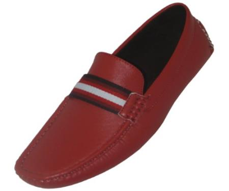 SKU#VR6912 Mens Penny Loafer Style Driver in Red Smooth with Stage Party Ribbon $49