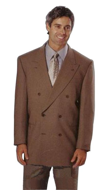 Mens Dark CoCo Brown Double Breasted Super 120s wool feel poly ~ rayon