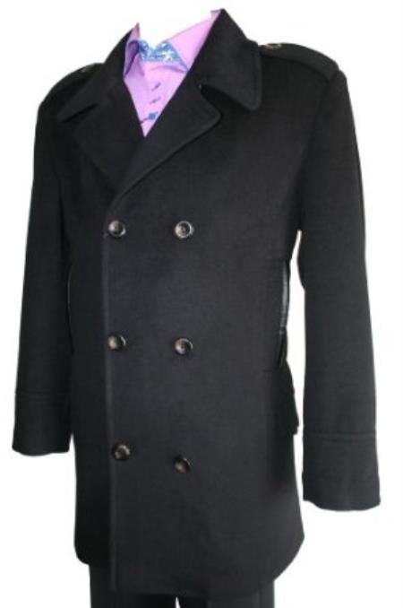 SKU#HT07 Mens Peacoat Wool Blend Double Breasted 6 Button Black