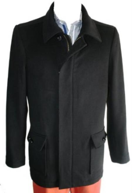 SKU#RH50 Peacoat Wool Blend Single Breasted 4 Button with Zipper Black