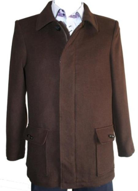 SKU#NQ82 Peacoat Wool Blend Single Breasted 4 Button with Zipper Brown