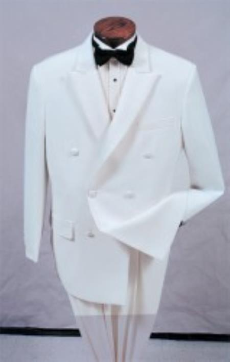SKU#ER2389 White Double Breasted Tuxedo with a Peak Lapel
