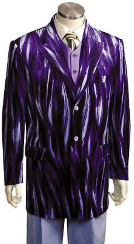 MensUSA Mens Entertainer Purple Velvet Cool Sparkly Zebra Print Suit at Sears.com