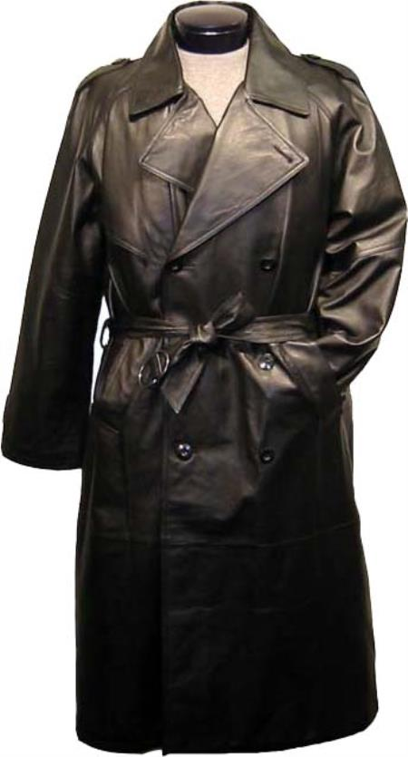 SKU#JKR78 Leather Duster Mens Classic Trench Coat Cape and Epaulets Black