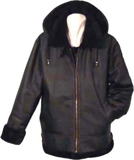 SKU#GAK61 Mens Unisex Shearling Bomber with Detachable Hood Black/black $450