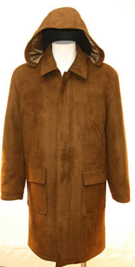 SKU#VT639 Mens Faux Leather Heavy Long Coat with Removable Hood Brown $175