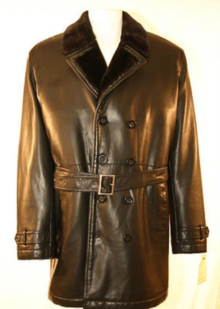 MensUSA Men's Faux Leather Double Breasted Pea Coat Faux Fur Lining Black at Sears.com