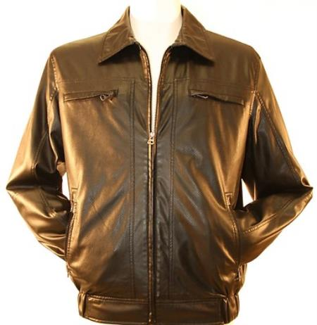 SKU#KRP728 Mens Faux Leather, Bomber / Windbreaker Jacket Black $175