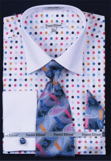 MensUSA.com Men's French Cuff Dress Shirt Set - Multi Polka Dot Blue(Exchange only policy) at Sears.com