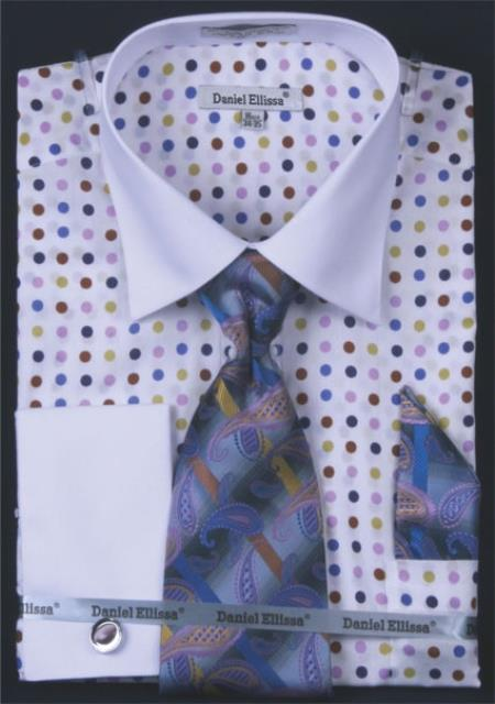SKU#BK6392 Mens French Cuff Dress Shirt Set - Multi Polka Dot Lilac Lavender $55