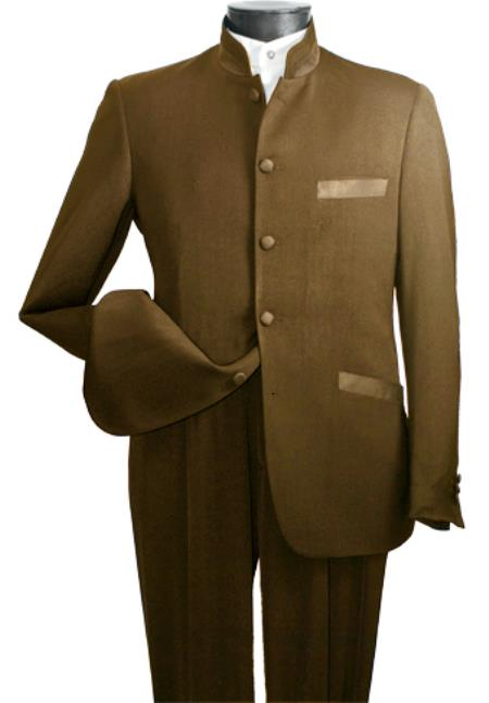 MensUSA.com Mens High Fashion 2-Piece Elegant Mandarin Collar Suit Khaki(Exchange only policy) at Sears.com