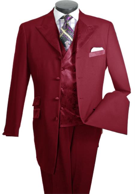 MensUSA Mens 3-Piece Single-Breasted High Fashion Suit Burgundy at Sears.com