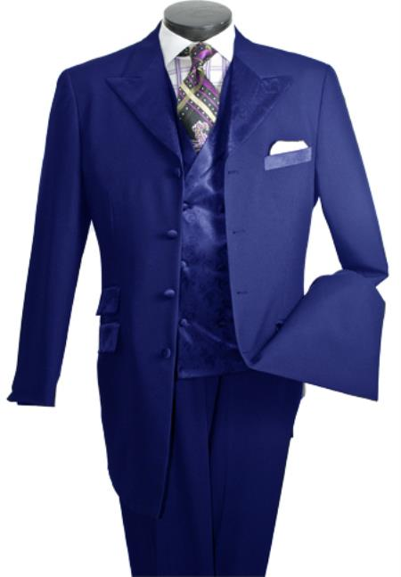 SKU#JR6295 Men's 3-Piece Single-Breasted High Fashion Suit Navy $149