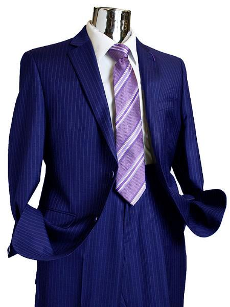SKU#RQ781 Mens 2 Button 100% Wool Suit Navy Blue $249