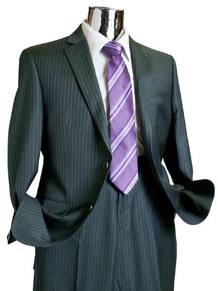 SKU#FP278 Suit Separate Mens 2 Button 100% Wool Suit Charcoal Pinstripe ~ Stripe Discounted Online Sale Only